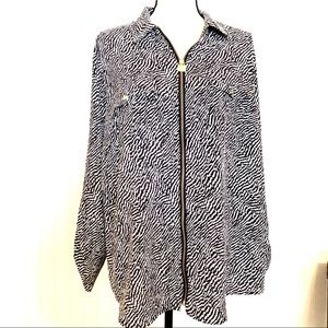 MICHAEL KORS Plus Size Zippered Blouse Top